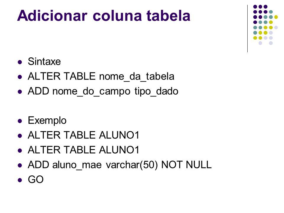 Adicionar coluna tabela