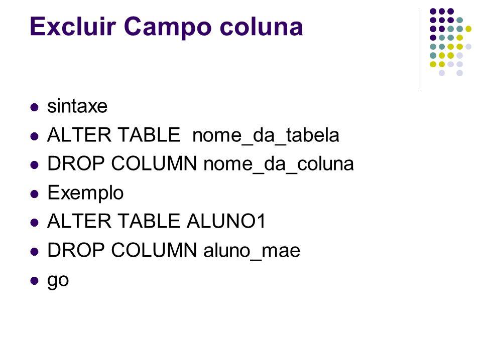 Excluir Campo coluna sintaxe ALTER TABLE nome_da_tabela