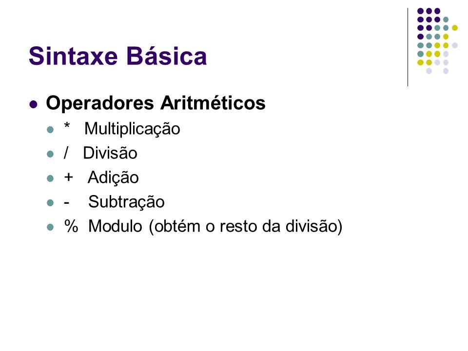 Sintaxe Básica Operadores Aritméticos * Multiplicação / Divisão