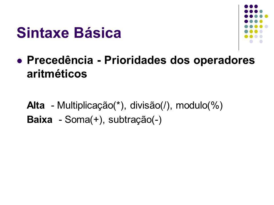 Sintaxe Básica Precedência - Prioridades dos operadores aritméticos