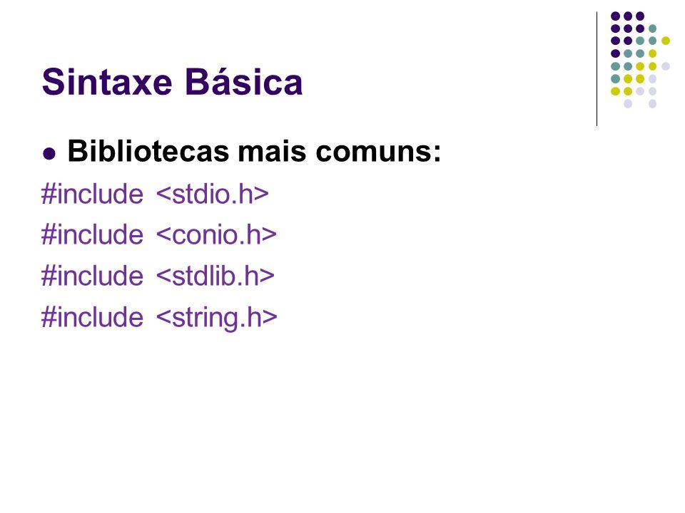 Sintaxe Básica Bibliotecas mais comuns: #include <stdio.h>