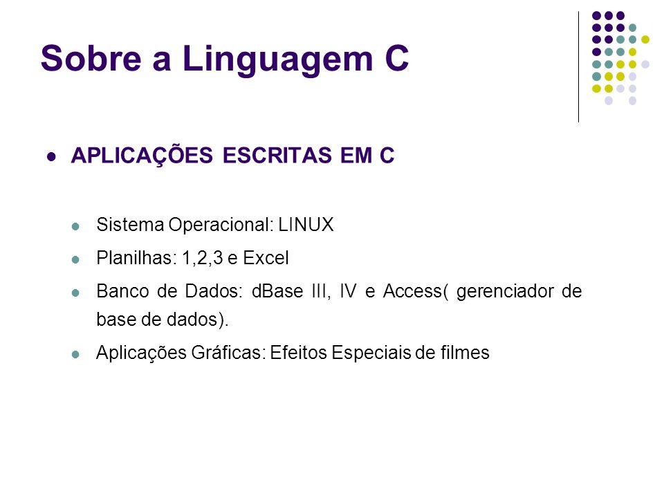 Sobre a Linguagem C APLICAÇÕES ESCRITAS EM C
