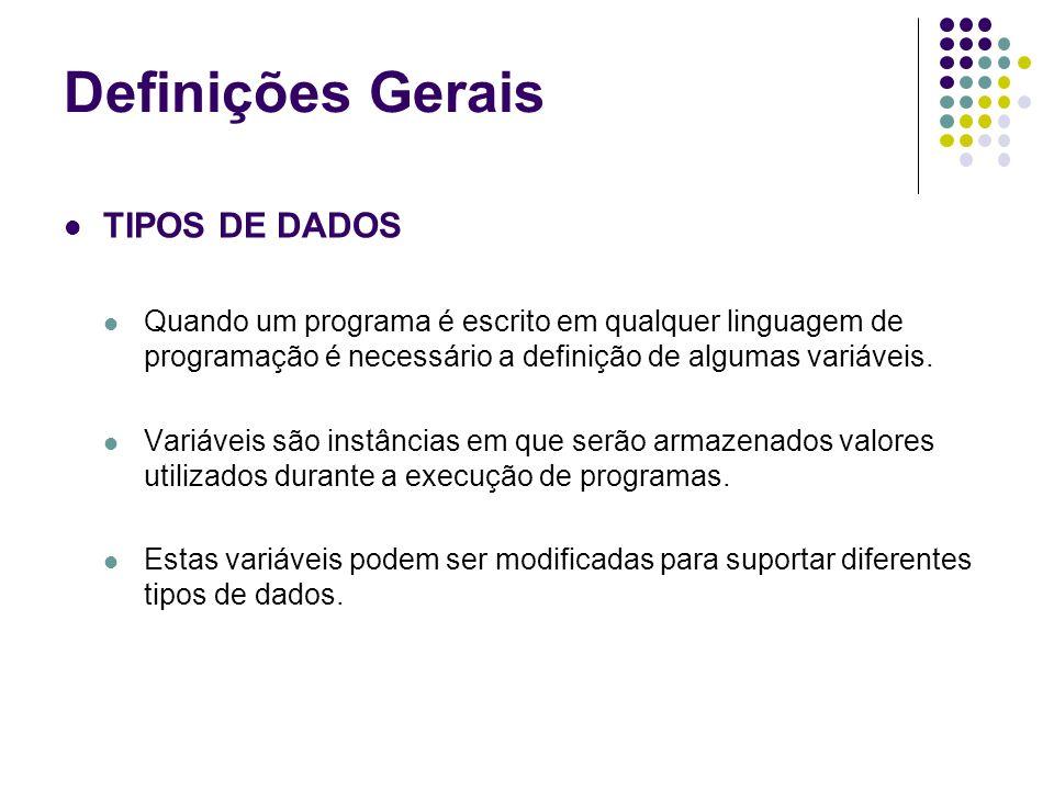 Definições Gerais TIPOS DE DADOS