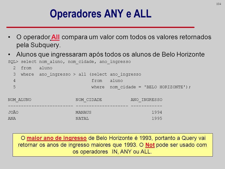 Operadores ANY e ALL O operador All compara um valor com todos os valores retornados pela Subquery.