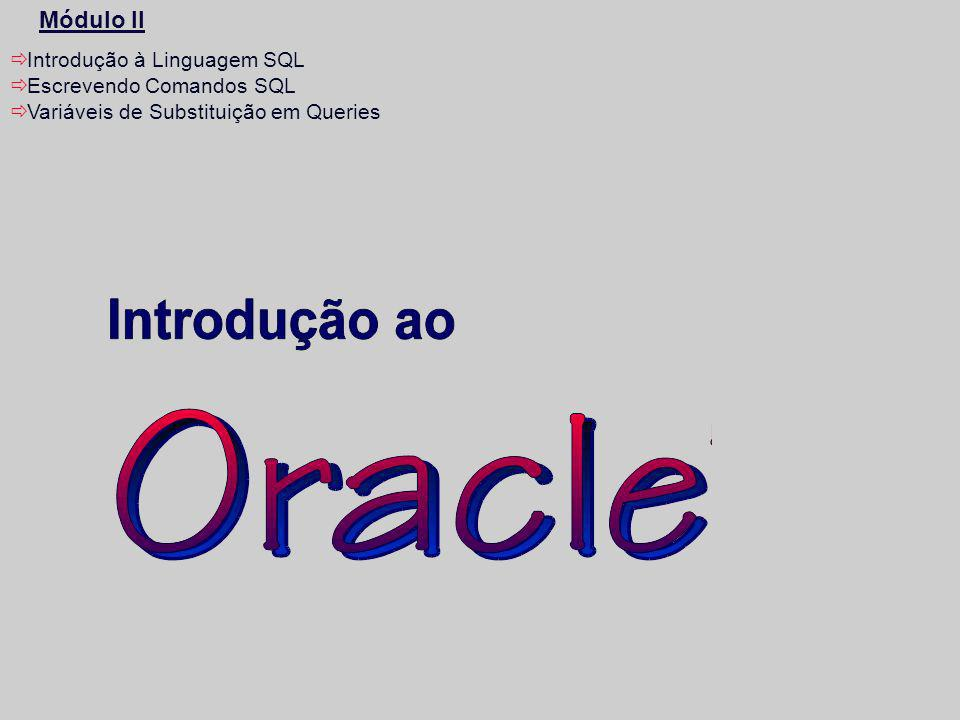 Módulo II Introdução à Linguagem SQL Escrevendo Comandos SQL