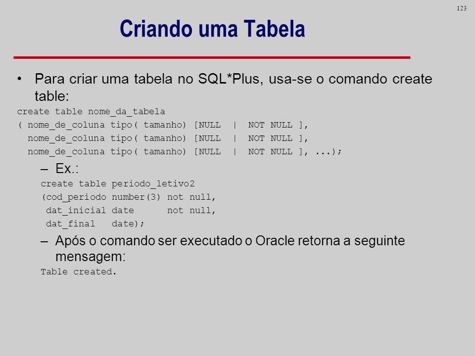 Criando uma TabelaPara criar uma tabela no SQL*Plus, usa-se o comando create table: create table nome_da_tabela.