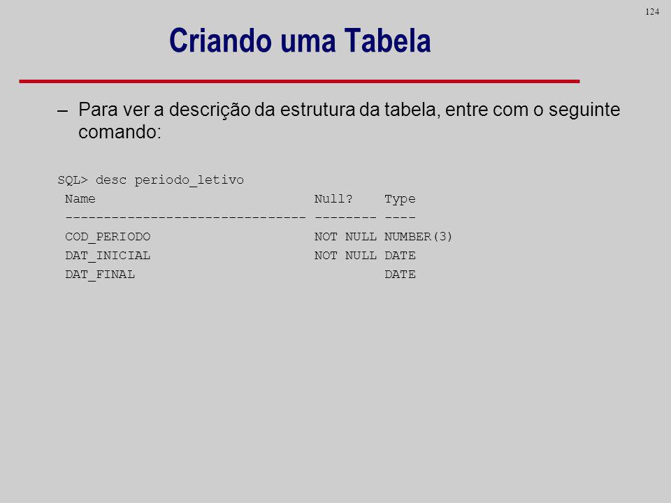 Criando uma Tabela Para ver a descrição da estrutura da tabela, entre com o seguinte comando: SQL> desc periodo_letivo.