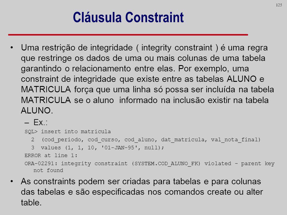 Cláusula Constraint