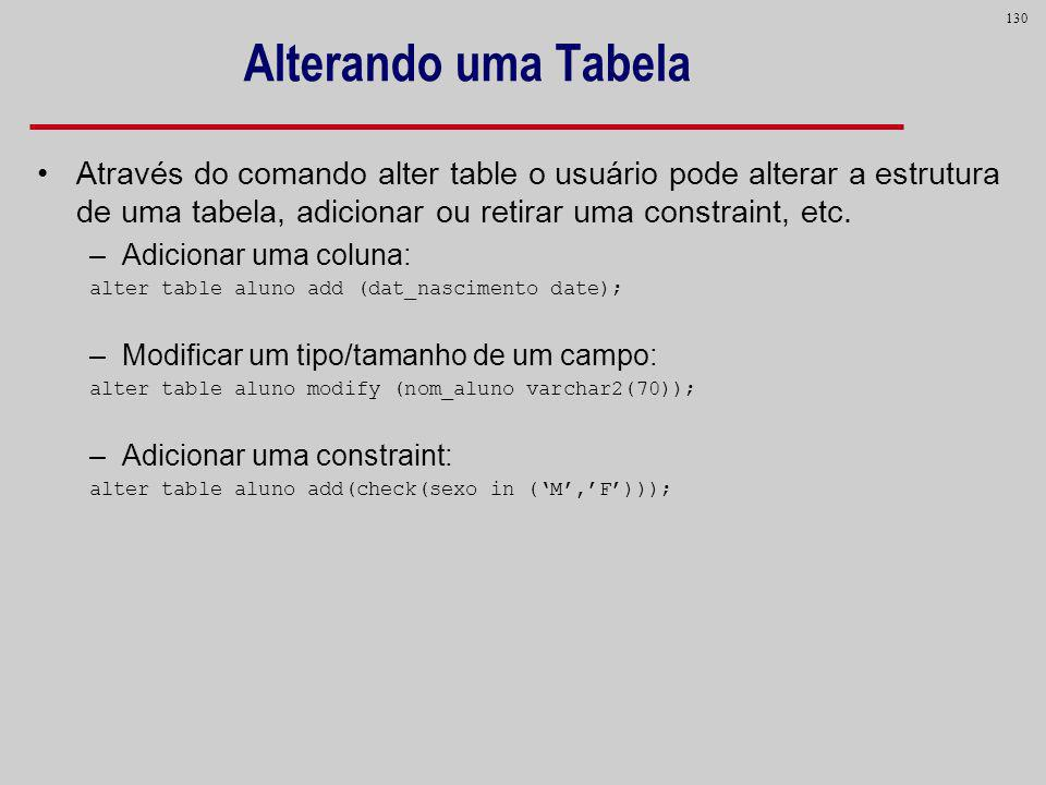 Alterando uma TabelaAtravés do comando alter table o usuário pode alterar a estrutura de uma tabela, adicionar ou retirar uma constraint, etc.
