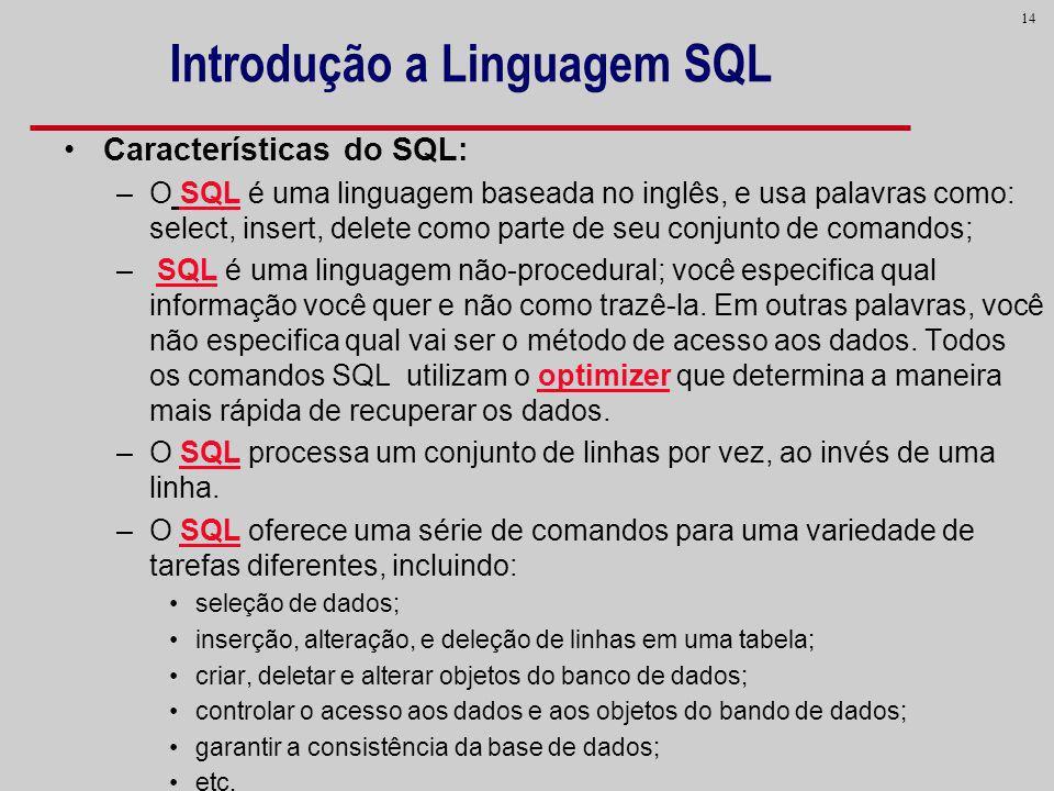 Introdução a Linguagem SQL