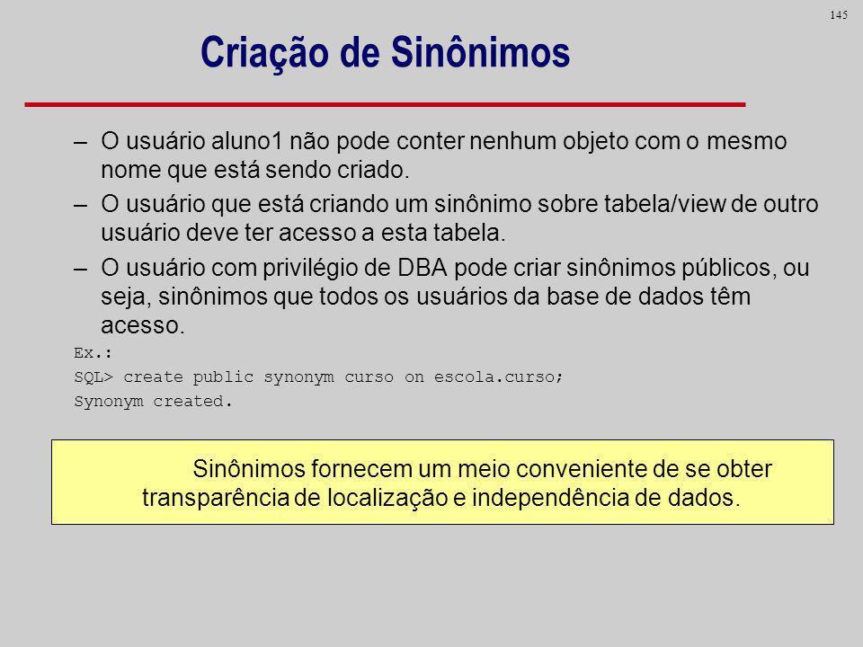 Criação de Sinônimos O usuário aluno1 não pode conter nenhum objeto com o mesmo nome que está sendo criado.