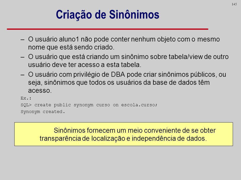 Criação de SinônimosO usuário aluno1 não pode conter nenhum objeto com o mesmo nome que está sendo criado.