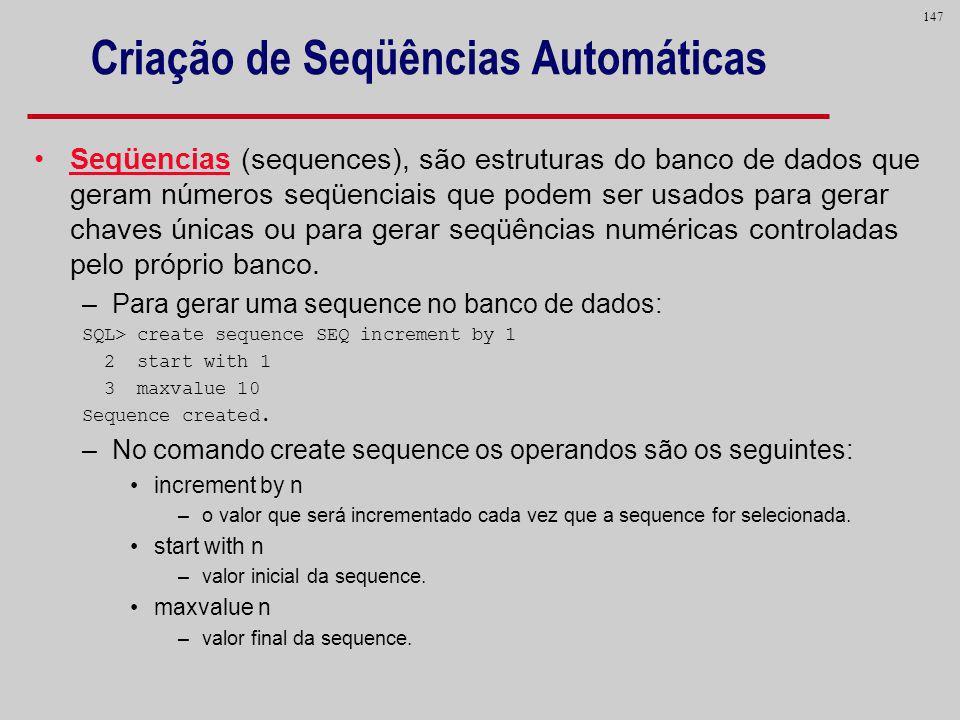 Criação de Seqüências Automáticas