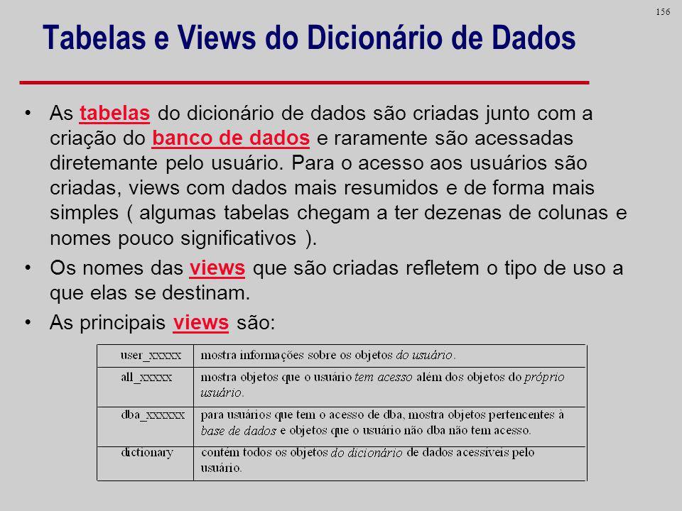 Tabelas e Views do Dicionário de Dados