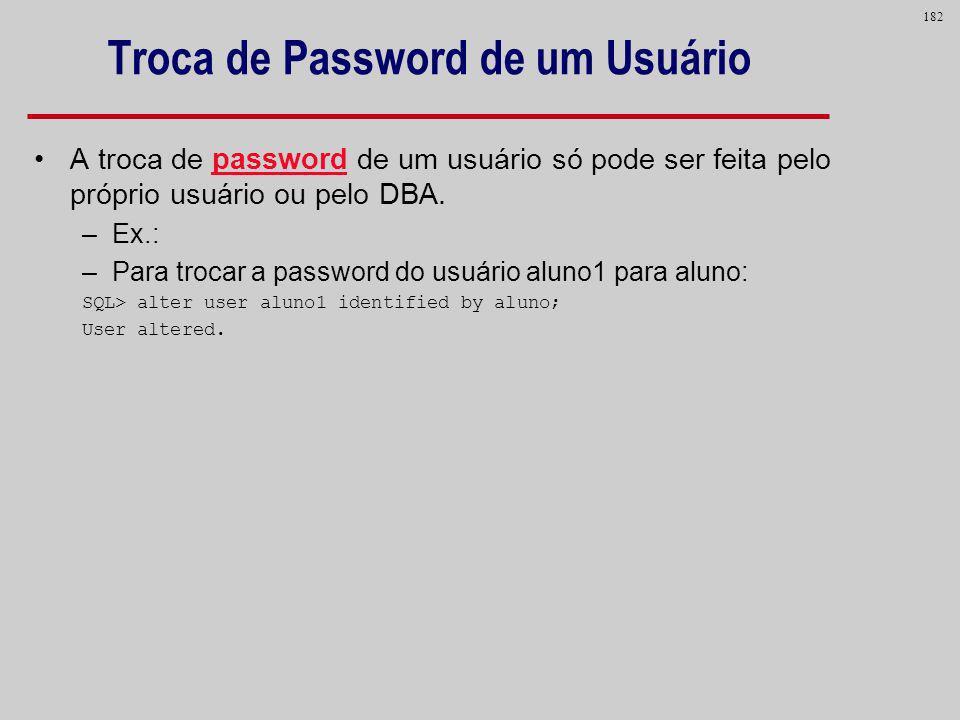 Troca de Password de um Usuário