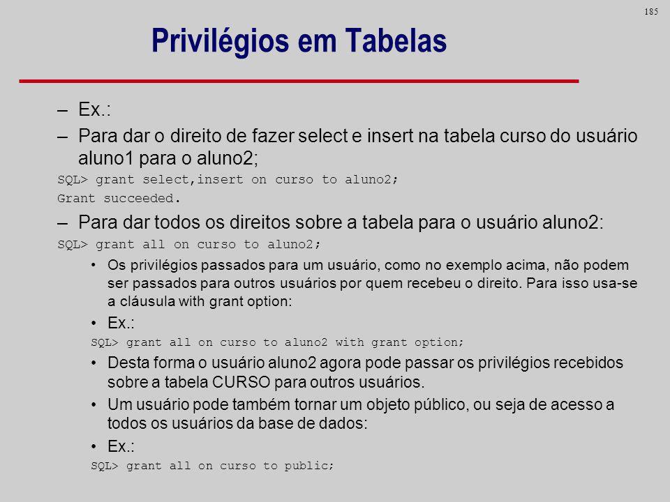 Privilégios em Tabelas