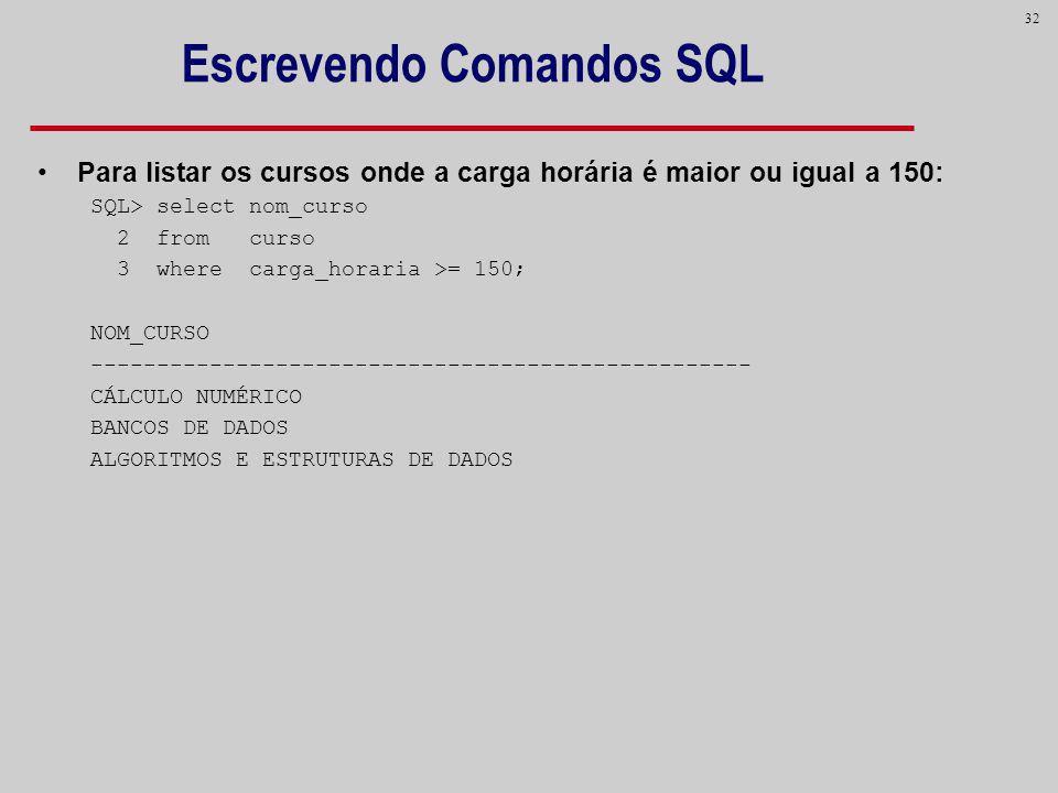 Escrevendo Comandos SQL
