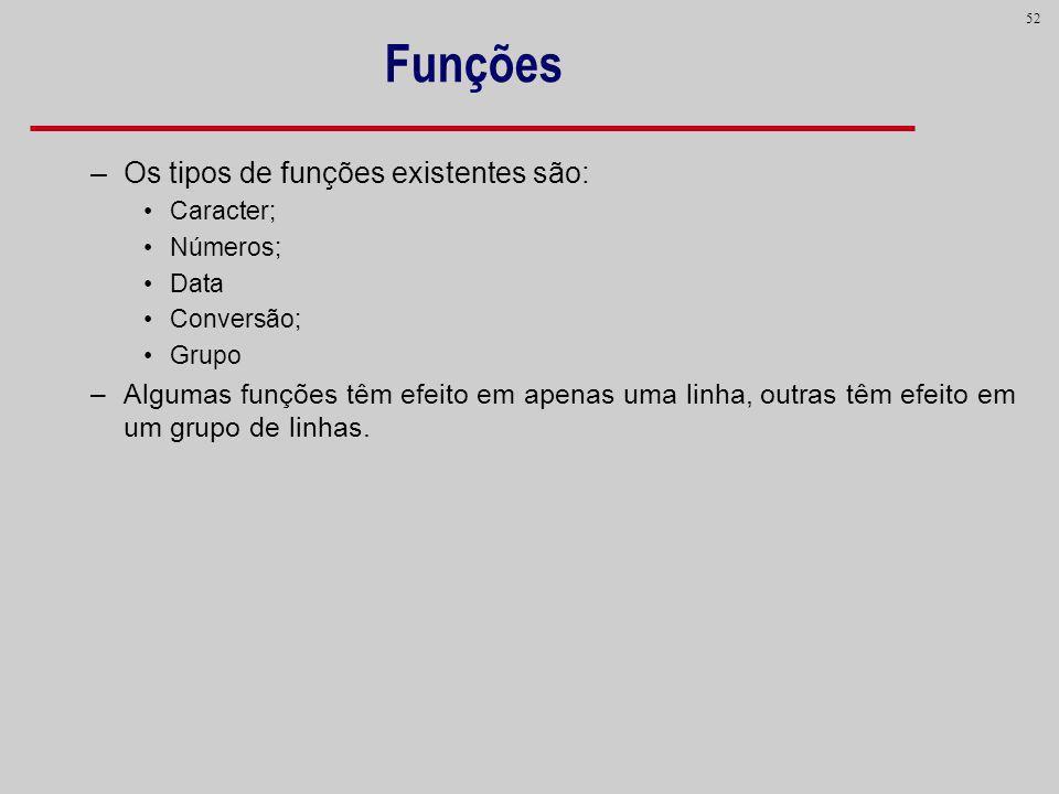 Funções Os tipos de funções existentes são: