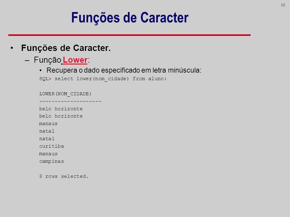 Funções de Caracter Funções de Caracter. Função Lower: