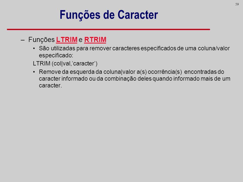 Funções de Caracter Funções LTRIM e RTRIM