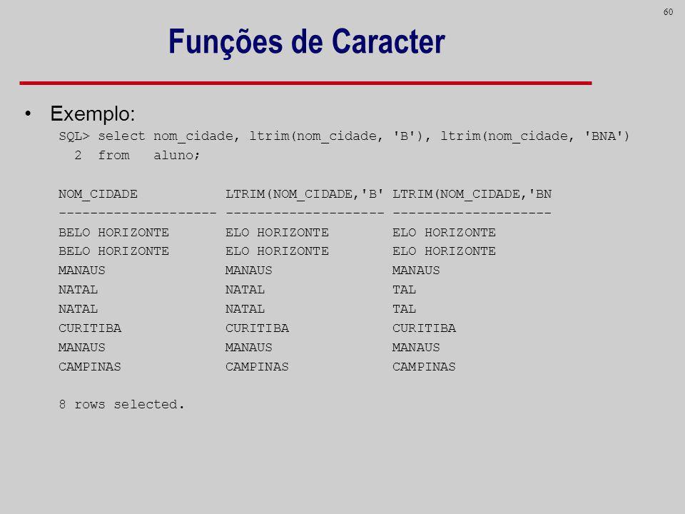 Funções de Caracter Exemplo: