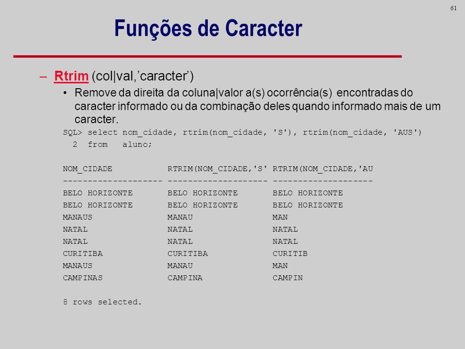 Funções de Caracter Rtrim (col|val,'caracter')