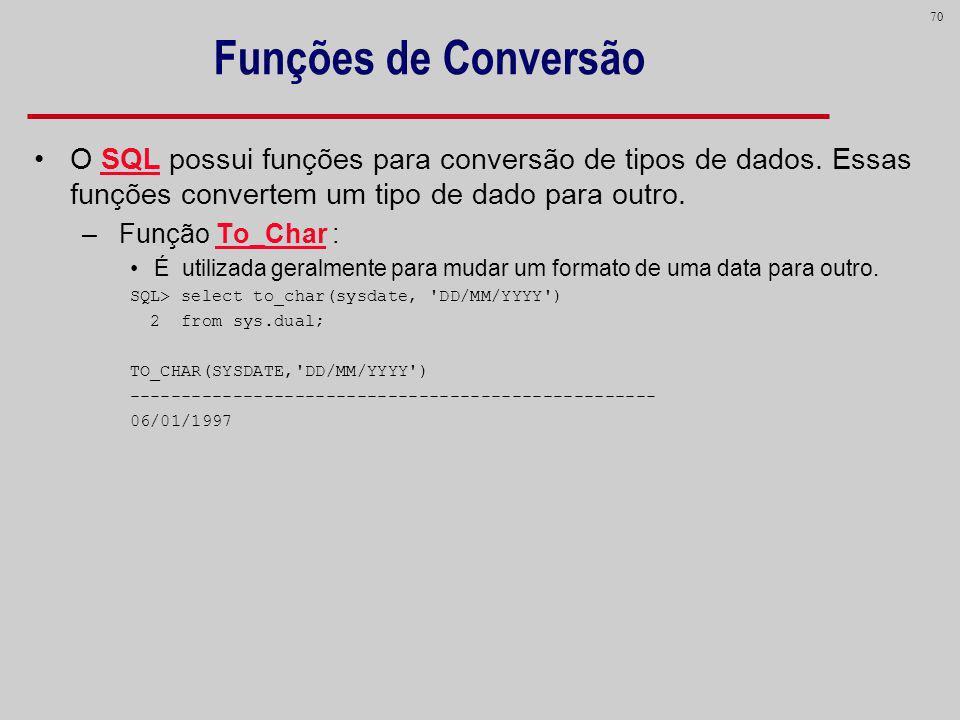 Funções de Conversão O SQL possui funções para conversão de tipos de dados. Essas funções convertem um tipo de dado para outro.