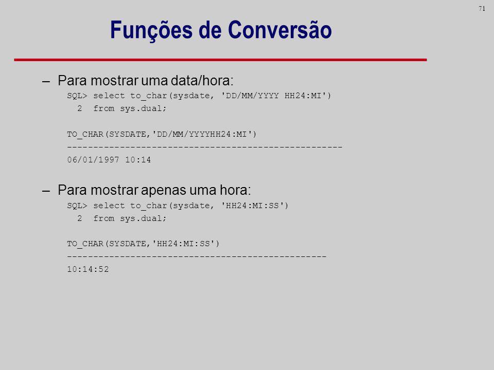 Funções de Conversão Para mostrar uma data/hora: