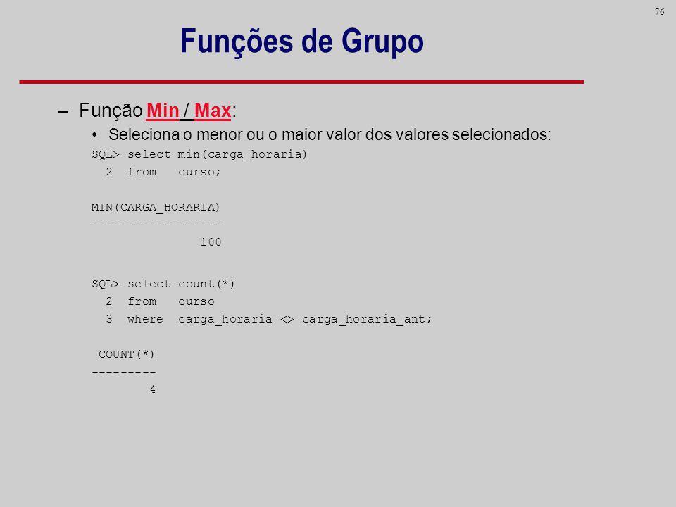 Funções de Grupo Função Min / Max: