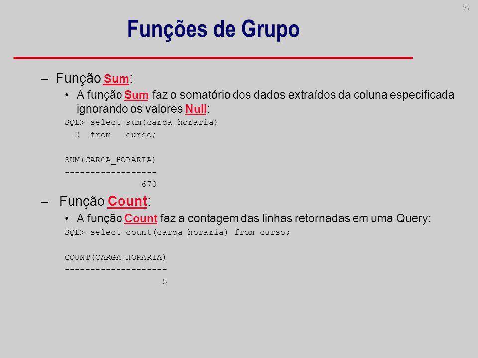 Funções de Grupo Função Sum: Função Count: