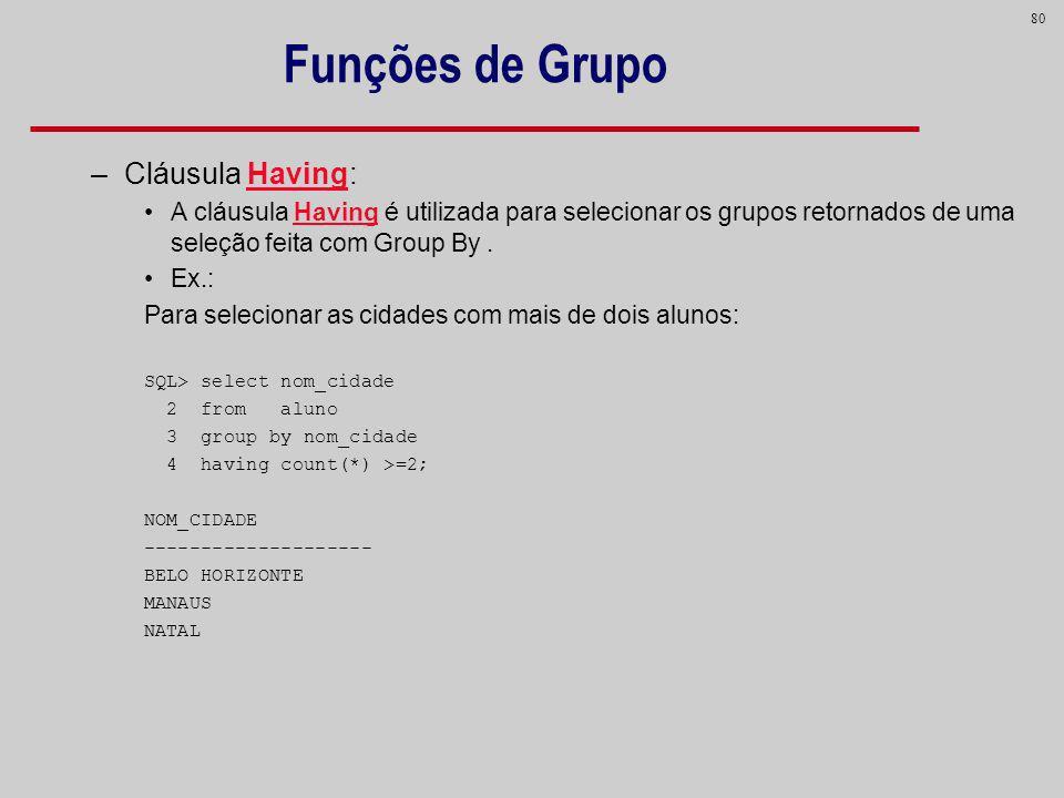 Funções de Grupo Cláusula Having: