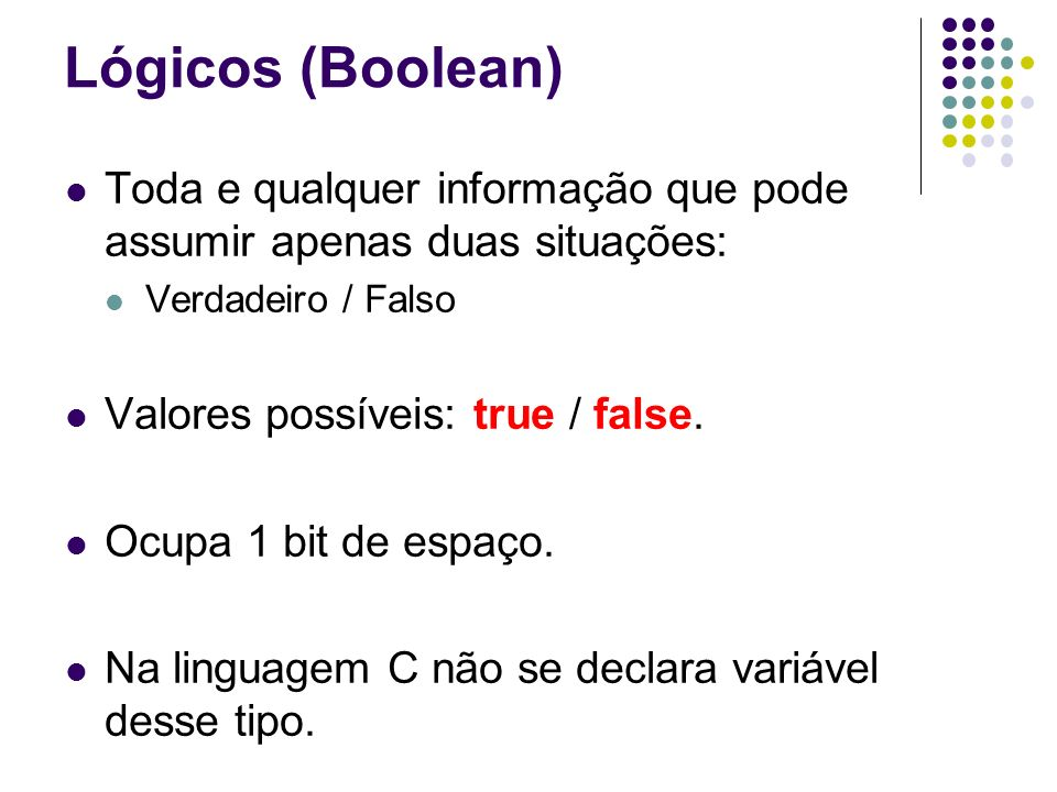 Lógicos (Boolean) Toda e qualquer informação que pode assumir apenas duas situações: Verdadeiro / Falso.