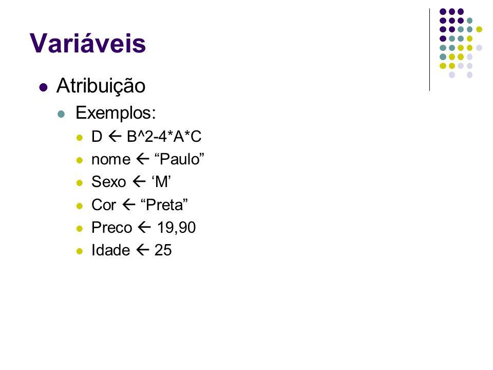 Variáveis Atribuição Exemplos: D  B^2-4*A*C nome  Paulo Sexo  'M'