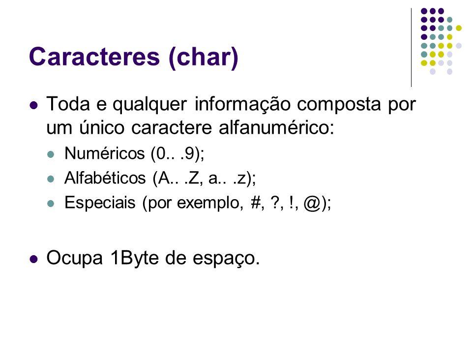 Caracteres (char) Toda e qualquer informação composta por um único caractere alfanumérico: Numéricos (0.. .9);