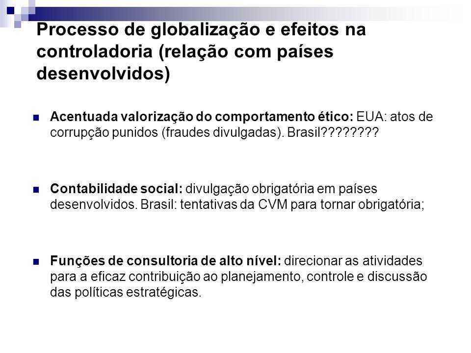 Processo de globalização e efeitos na controladoria (relação com países desenvolvidos)