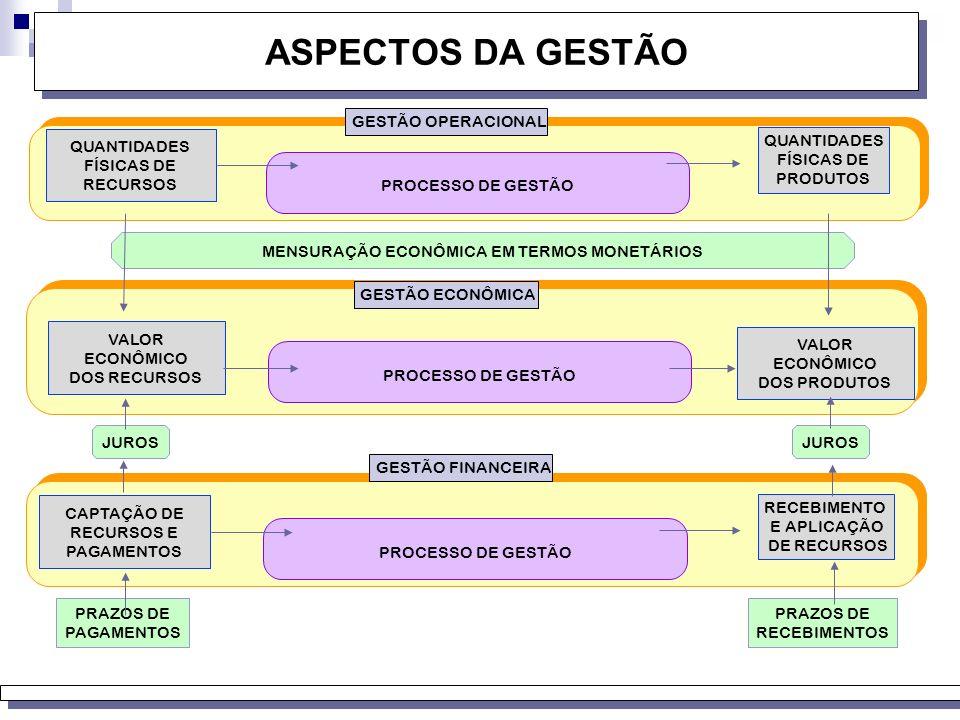 ASPECTOS DA GESTÃO GESTÃO OPERACIONAL QUANTIDADES FÍSICAS DE RECURSOS