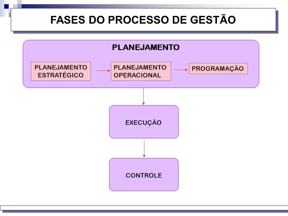 FASES DO PROCESSO DE GESTÃO