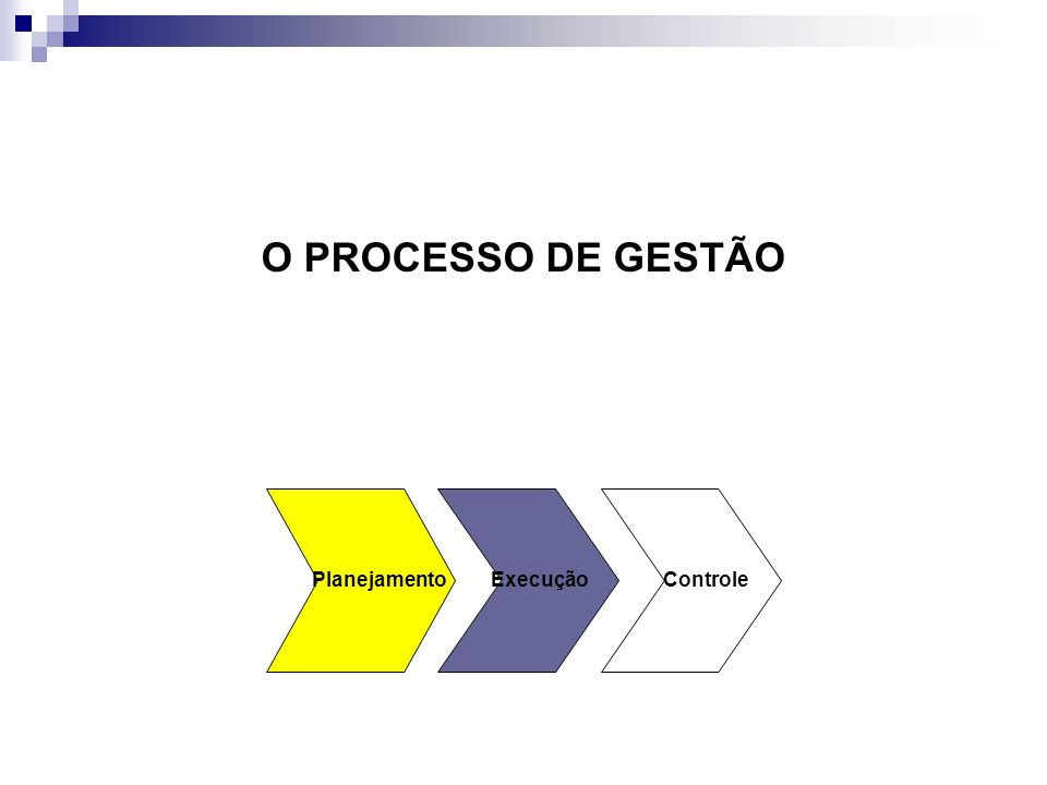 O PROCESSO DE GESTÃO Planejamento Execução Controle