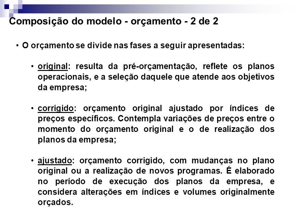 Composição do modelo - orçamento - 2 de 2
