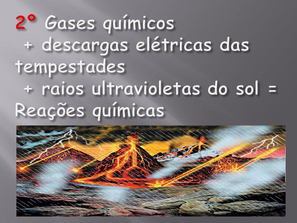 2º Gases químicos + descargas elétricas das tempestades + raios ultravioletas do sol = Reações químicas