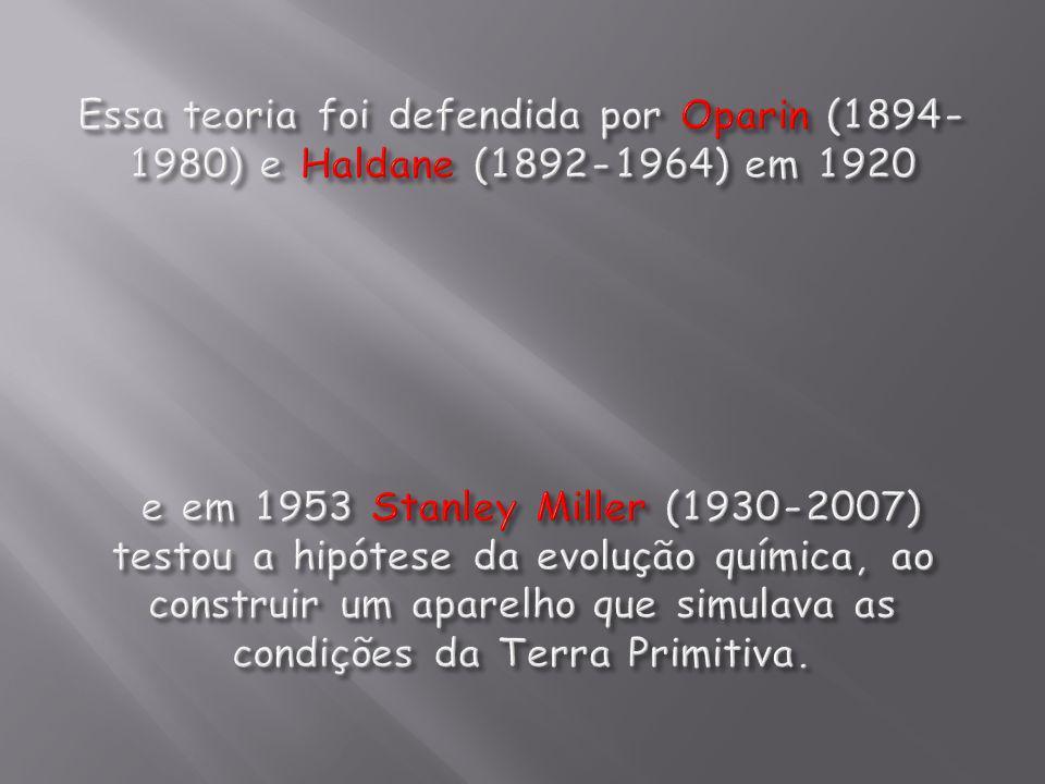 Essa teoria foi defendida por Oparin (1894-1980) e Haldane (1892-1964) em 1920 e em 1953 Stanley Miller (1930-2007) testou a hipótese da evolução química, ao construir um aparelho que simulava as condições da Terra Primitiva.