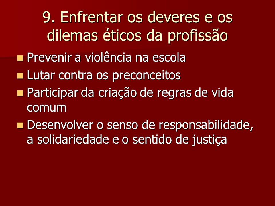 9. Enfrentar os deveres e os dilemas éticos da profissão