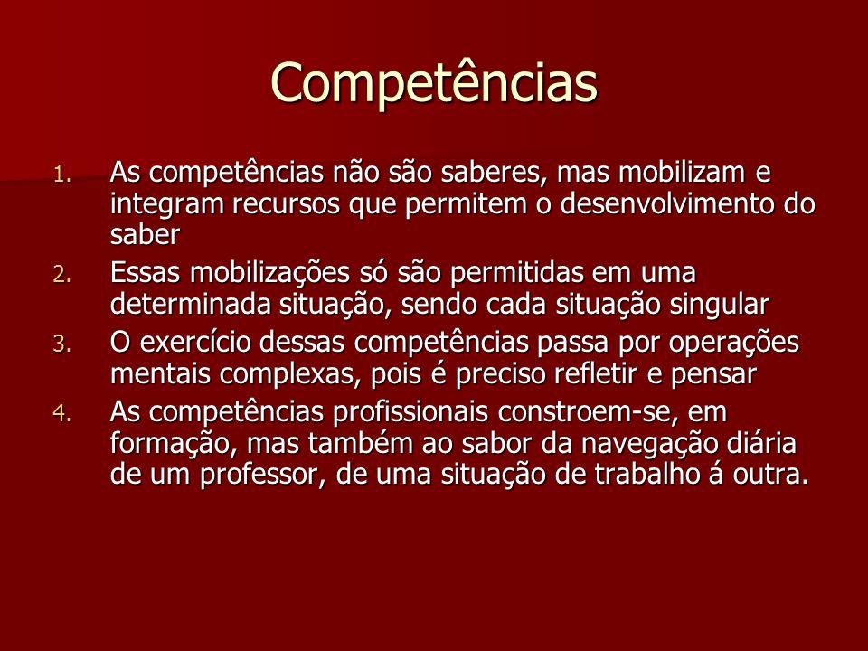 Competências As competências não são saberes, mas mobilizam e integram recursos que permitem o desenvolvimento do saber.
