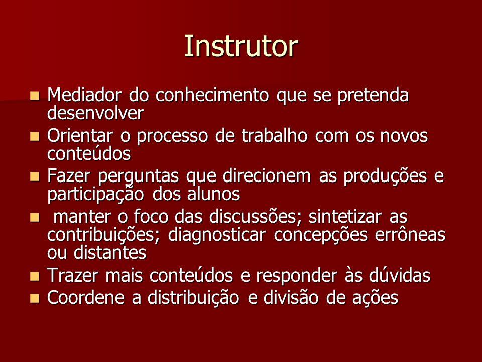 Instrutor Mediador do conhecimento que se pretenda desenvolver