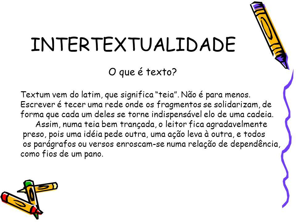 INTERTEXTUALIDADE O que é texto