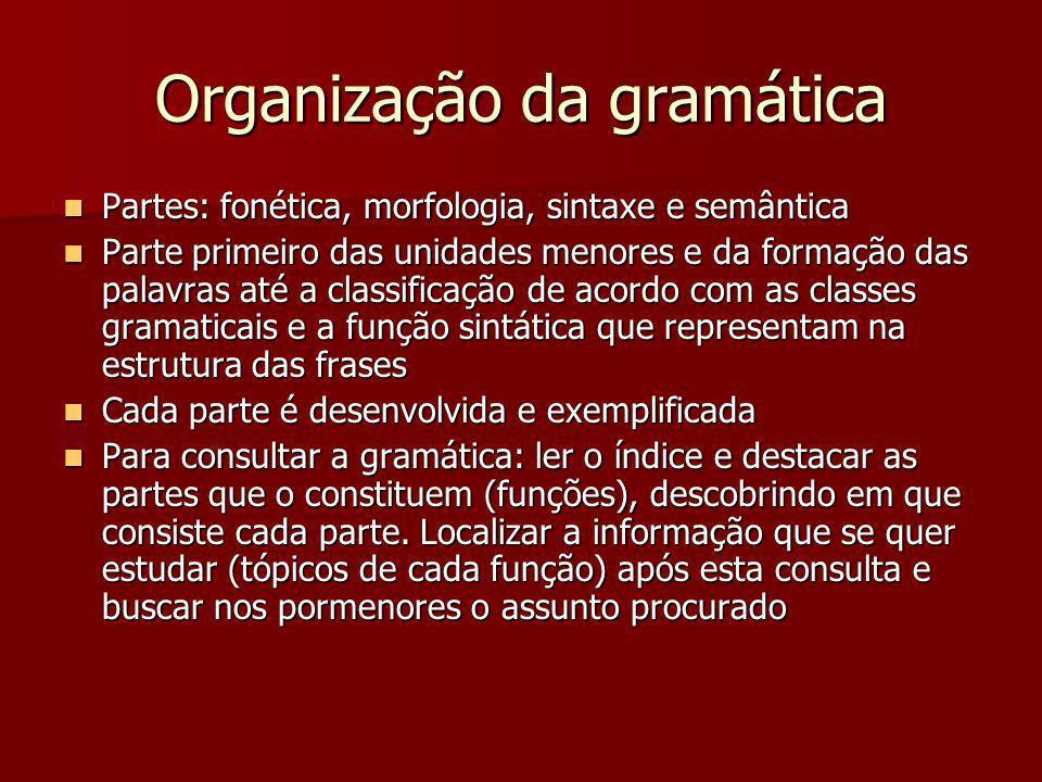 Organização da gramática