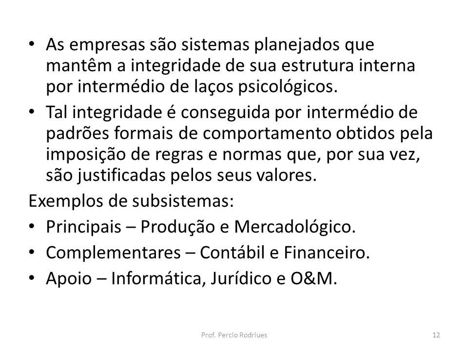 Exemplos de subsistemas: Principais – Produção e Mercadológico.