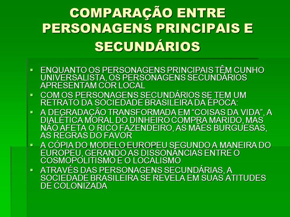 COMPARAÇÃO ENTRE PERSONAGENS PRINCIPAIS E SECUNDÁRIOS