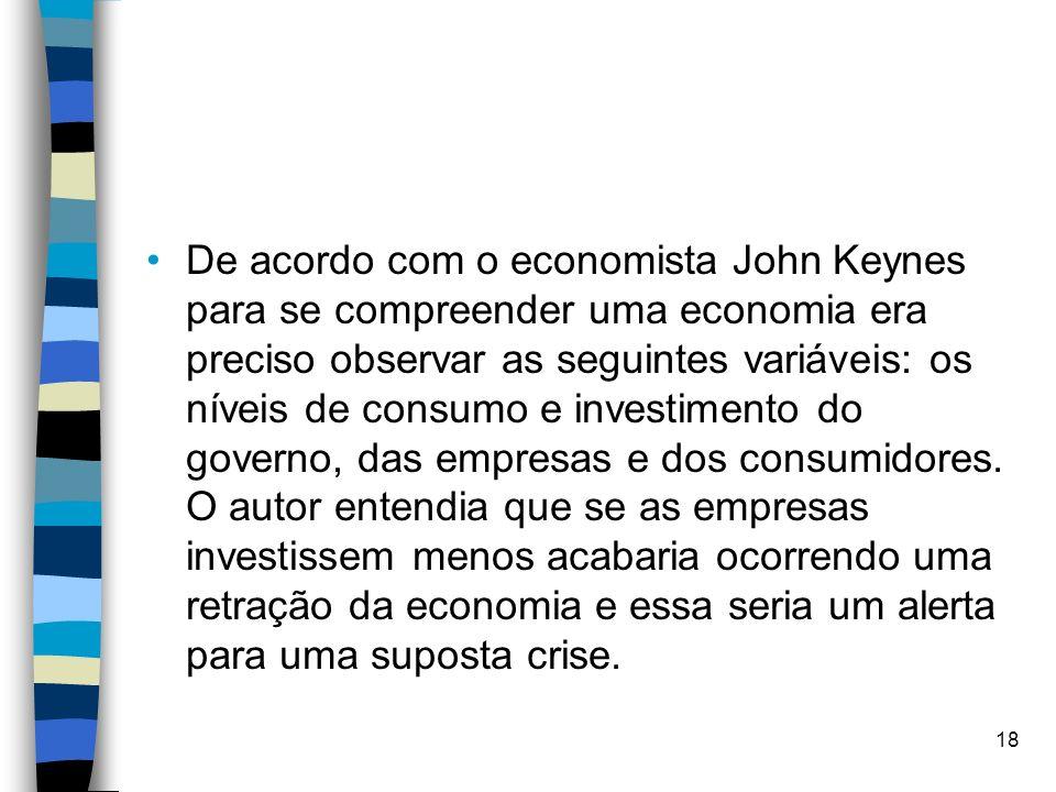 De acordo com o economista John Keynes para se compreender uma economia era preciso observar as seguintes variáveis: os níveis de consumo e investimento do governo, das empresas e dos consumidores.