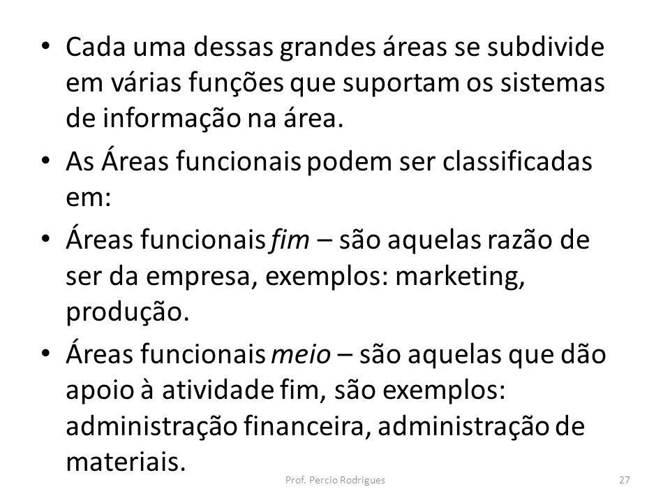 As Áreas funcionais podem ser classificadas em: